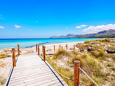 Jetty to S'Arenal Beach, Alcudia Bay, Son Serra de Marina, Mallorca (Majorca), Balearic Islands, Spain, Mediterranean, Europe