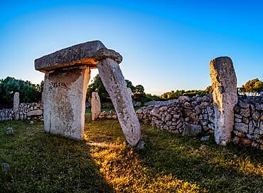 Taula at sunset, Talati de Dalt archaeological site, Menorca or Minorca, Balearic Islands, Spain