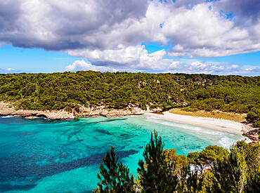 Cala Trebaluger, Trebaluger Bay, elevated view, Menorca or Minorca, Balearic Islands, Spain