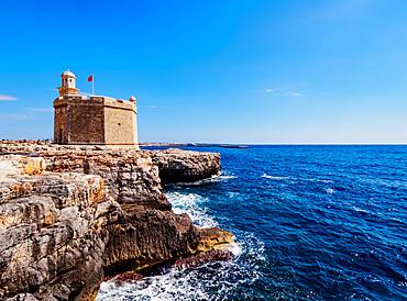 Castell de Sant Nicolau, coastal defense castle tower, Ciutadella, Menorca or Minorca, Balearic Islands, Spain