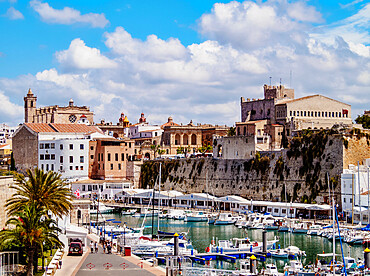 View over the port towards the Cathedral, Ciutadella, Menorca or Minorca, Balearic Islands, Spain