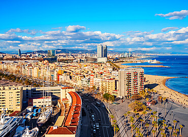 Cityscape with the coastline and Barceloneta Beach, elevated view, Barcelona, Catalonia, Spain
