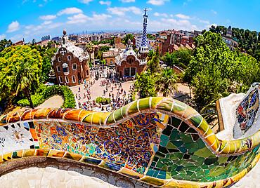 Parc Guell, famous park designed by Antoni Gaudi, Barcelona, Catalonia, Spain