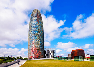 Torre Agbar designed by famous architect Jean Nouvel, Barcelona, Catalonia, Spain