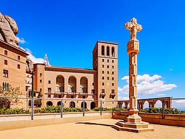 Santa Maria de Montserrat Abbey, Montserrat mountain range near Barcelona, Catalonia, Spain