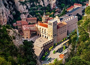 Santa Maria de Montserrat Abbey, elevated view, Montserrat mountain range near Barcelona, Catalonia, Spain