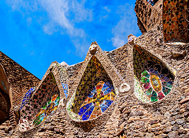 Unfinished Antoni Gaudi Church, detailed view, Colonia Guell, Catalonia, Spain
