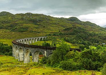 View of the Glenfinnan Viaduct, Highlands, Scotland, United Kingdom, Europe