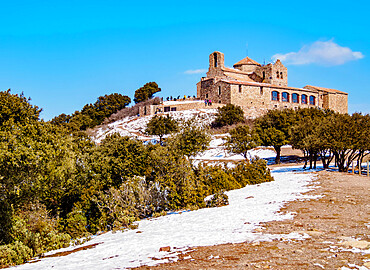 Monestir de Sant Llorenc del Munt, Benedictine monastery on top of La Mola, Matadepera, Catalonia, Spain