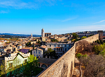 Old Town Skyline including the cathedral seen from the city walls, Girona or Gerona, Catalonia, Spain