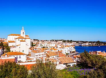 Townscape with Santa Maria Church, Cadaques, Cap de Creus Peninsula, Catalonia, Spain