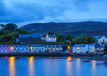 Twilight view of Portree, Isle of Skye, Inner Hebrides, Scotland, United Kingdom, Europe
