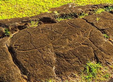 Petroglyphs in Papa Vaka, Rapa Nui National Park, UNESCO World Heritage Site, Easter Island, Chile, South America