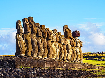 Moais in Ahu Tongariki, Rapa Nui National Park, UNESCO World Heritage Site, Easter Island, Chile, South America