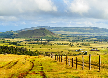 Landscape of the island seen from the way up to the Maunga Terevaka, Easter Island, Chile, South America