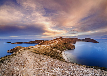 Island of the Sun, elevated view, Titicaca Lake, La Paz Department, Bolivia, South America