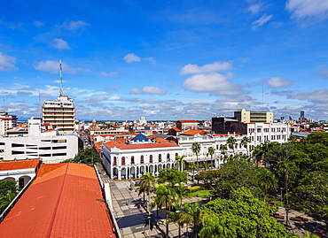 Elevated view of 24 de Septiembre Square, Santa Cruz de la Sierra, Bolivia, South America
