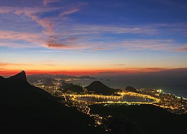 View towards Lagoa Neighbourhood from Tijuca Forest National Park at dawn, Rio de Janeiro, Brazil, South America