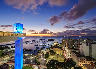 Lacerda Elevator at dusk, Salvador, State of Bahia, Brazil, South America