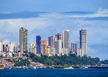 City seen from the Bay of All Saints, Salvador, State of Bahia, Brazil, South America