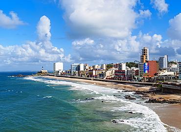 Farol da Barra Beach, elevated view, Salvador, State of Bahia, Brazil, South America