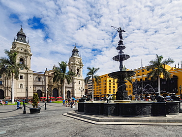 Cathedral of St. John the Apostle and Evangelist, Plaza de Armas, Lima, Peru, South America