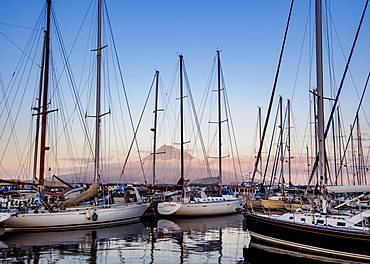 Yacht Harbour in Horta with Pico Mountain in the background, Faial Island, Azores, Portugal, Atlantic, Europe