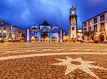 City Gates and Main Church, twilight, Ponta Delgada, Sao Miguel Island, Azores, Portugal, Atlantic, Europe