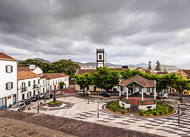 Main Square, elevated view, Ribeira Grande, Sao Miguel Island, Azores, Portugal, Atlantic, Europe