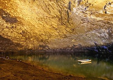 Lake in the Furna do Enxofre, volcanic cave, Caldeira, Graciosa Natural Park, Graciosa Island, Azores, Portugal, Atlantic, Europe