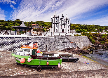 Church of Sao Sebastiao and Port in Calheta de Nesquim, Pico Island, Azores, Portugal, Atlantic, Europe