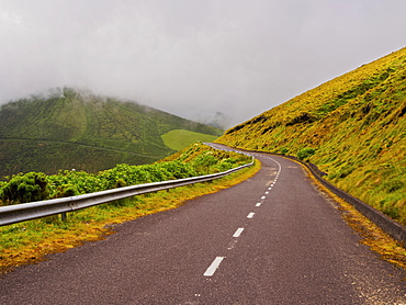 Road on Flores Island, Azores, Portugal, Atlantic, Europe