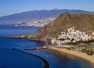 Las Teresitas Beach, elevated view, San Andres, Tenerife Island, Canary Islands, Spain, Atlantic, Europe