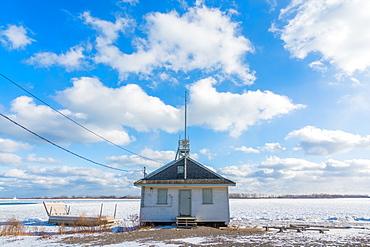 Frozen Leuty Life guard station, Lake Ontario, Toronto, Ontario, Canada, North America