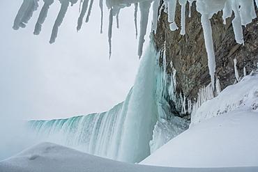 Frozen Niagara Falls, view from beneath the falls, Ontario, Canada, North America