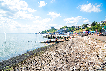 June 2021, Southend On Sea, Essex, England.Three Shells Lagoon and view towards Chalkwell