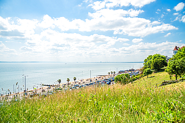June 2021, Southend On Sea, Essex, England. Looking towards chalkwell from the grass by the Cliffs Pavilion Theatre.