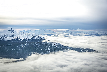 Wide angle view of Black Tusk from the Peak of Whistler Mountain, British Columbia, Canada, North America