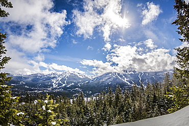 View of blue skies over Whistler Blackcomb from Sprout Mountain, British Columbia, Canada, North America