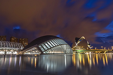 City of Arts and Sciences at night, Valencia, Spain, Europe