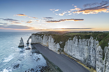 Dawn at the chalk cliffs, Etretat, Normandy, France, Europe