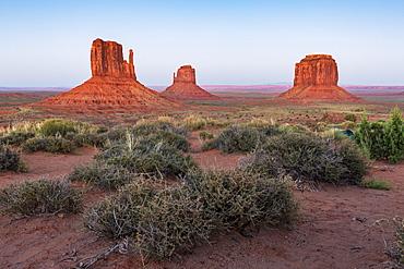 Monument Valley at dusk, Navajo Tribal Park, Arizona, United States of America, North America
