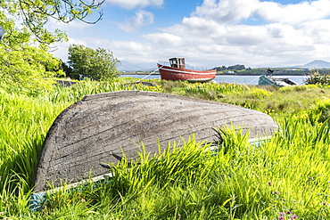 Wooden fishing boats in Roundstone, County Galway, Connacht province, Republic of Ireland, Europe