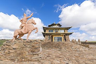 Tsorjiin Khureenii temple and Genghis Khan statue, Middle Gobi province, Mongolia, Central Asia, Asia