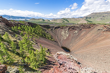 Khorgo volcano crater and White Lake in the background, Tariat district, North Hangay province, Mongolia, Central Asia, Asia