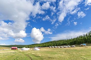 Tourist ger camp, Burentogtokh district, Hovsgol province, Mongolia, Central Asia, Asia