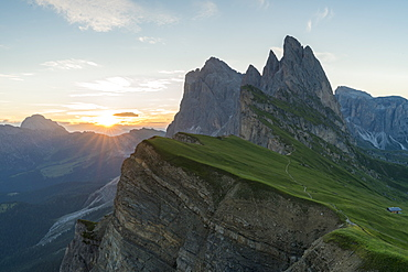 Seceda mountain at sunrise in Italy, Europe