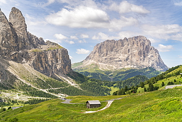 Cabin by Sella and Langkofel mountain groups in Italy, Europe