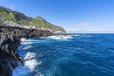 View of Porto Moniz and its cliffs, Madeira, Portugal, Atlantic, Europe