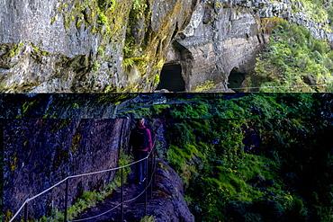 Woman walking on the trail from Pico Ruivo to Pico do Areeiro, Santana municipality, Madeira, Portugal, Europe